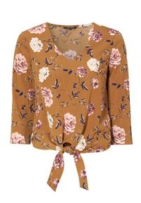 Happy Holly Bluzka Grace w kwiaty female ze wzorem 44/46. Typ kołnierza: dekolt w serek. Materiał: tkanina. Długość: krótkie. Wzór: kwiaty