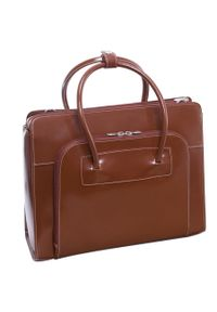 Brązowa torebka MCKLEIN do ręki, w kolorowe wzory, biznesowa