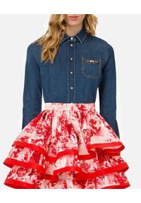 Elisabetta Franchi - ELISABETTA FRANCHI - Jeansowa koszula ze złotymi detalami. Kolor: niebieski. Materiał: jeans. Długość rękawa: długi rękaw. Długość: długie. Wzór: aplikacja. Styl: elegancki