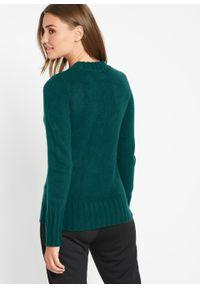 Zielony sweter bonprix z dekoltem w serek