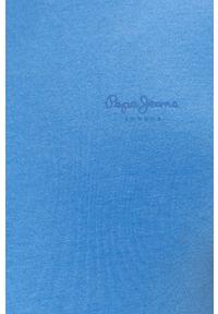 Niebieski t-shirt Pepe Jeans na co dzień, casualowy