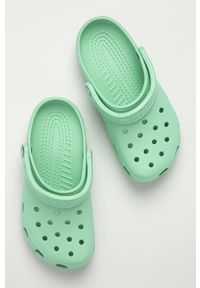 Zielone klapki Crocs bez obcasa, gładkie #4