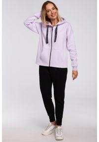 e-margeritka - Bluza bawełniana z kapturem oversize lila - l. Typ kołnierza: kaptur. Materiał: bawełna. Długość: krótkie