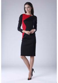 Nommo - Czarno Czerwona Wizytowa Sukienka z Kontrastowym Panelem. Kolor: wielokolorowy, czerwony, czarny. Materiał: wiskoza, poliester. Styl: wizytowy