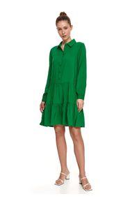 TOP SECRET - Sukienka damska gładka. Typ kołnierza: kołnierzyk klasyczny. Kolor: zielony. Długość rękawa: długi rękaw. Wzór: gładki. Typ sukienki: proste, koszulowe. Styl: klasyczny