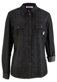 Czarna koszula bonprix długa, z długim rękawem