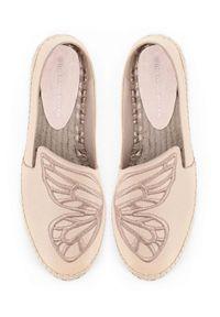 SOPHIA WEBSTER - Beżowe espadryle Butterfly. Okazja: na co dzień. Nosek buta: okrągły. Kolor: beżowy. Materiał: jeans, guma. Wzór: haft. Styl: klasyczny, casual