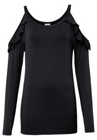 Shirt off-shoulder z przyjaznej dla środowiska wiskozy bonprix czarny. Kolor: czarny. Materiał: wiskoza