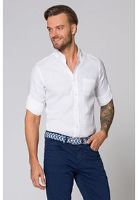 Biała koszula Lancerto button down, krótka, na lato