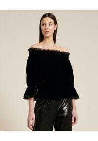 Luisa Spagnoli - LUISA SPAGNOLI - Czarna bluzka z odkrytymi ramionami Lilu. Kolor: czarny. Materiał: jedwab, materiał. Długość rękawa: długi rękaw. Długość: długie