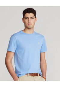 Ralph Lauren - RALPH LAUREN - Niebieska koszulka Custom Slim Fit. Okazja: na co dzień. Typ kołnierza: polo. Kolor: niebieski. Materiał: bawełna. Wzór: haft. Styl: casual #1