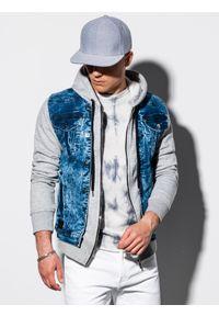 Szara kurtka Ombre Clothing klasyczna, z kapturem
