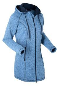 Długa bluza rozpinana z polaru bonprix niebiesko-ciemnoniebieski melanż. Typ kołnierza: kaptur. Kolor: niebieski. Materiał: polar. Długość: długie. Wzór: melanż