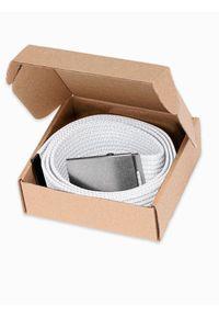 Ombre Clothing - Pasek męski parciany A029 - biały - uniwersalny. Kolor: biały. Materiał: materiał