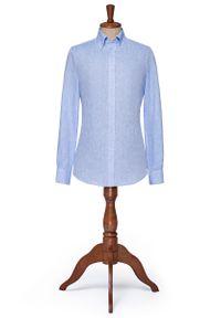 Niebieska koszula Lancerto vintage, button down, melanż