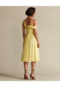 Ralph Lauren - RALPH LAUREN - Żółta sukienka na ramiączkach. Typ kołnierza: polo. Kolor: żółty. Materiał: materiał. Długość rękawa: na ramiączkach #6