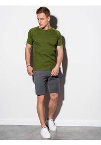 Ombre Clothing - T-shirt męski bez nadruku S1182 - oliwkowy - XXL. Kolor: oliwkowy. Materiał: bawełna, tkanina, poliester. Styl: klasyczny