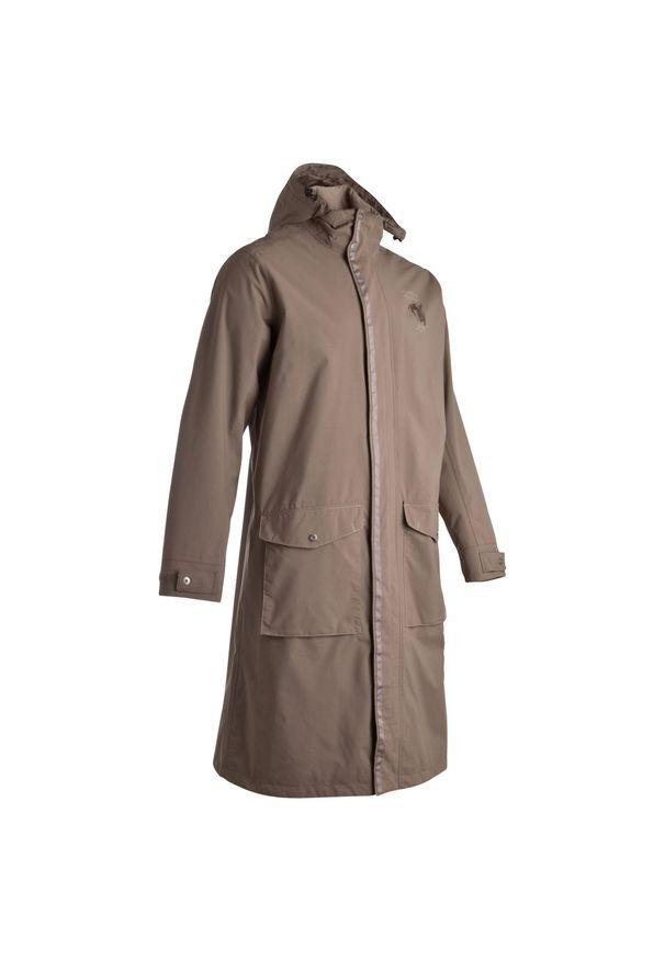 FOUGANZA - Płaszcz przeciwdeszczowy jeździecki Sentier brązowy. Kolor: brązowy. Materiał: poliester, poliamid, materiał. Długość: do ud