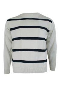 Max Sheldon - Sweter Beżowo-Granatowy w Paski, Prążki, Okrągły Dekolt (U-neck), Męski - MAX SHELDON. Kolor: niebieski, brązowy, wielokolorowy, beżowy. Materiał: akryl, bawełna. Wzór: prążki, paski. Sezon: jesień, zima. Styl: klasyczny