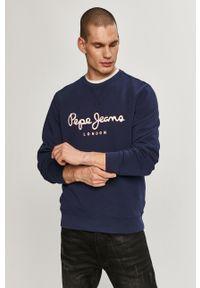 Niebieska bluza nierozpinana Pepe Jeans bez kaptura, z nadrukiem, na co dzień, casualowa