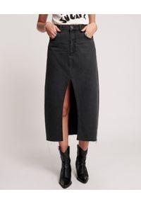 ONETEASPOON - Czarna spódnica midi Rocko Mid Waist. Kolor: czarny. Materiał: bawełna. Wzór: aplikacja