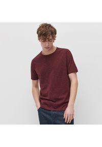 Reserved - T-shirt z bawełny organicznej - Bordowy. Kolor: czerwony. Materiał: bawełna