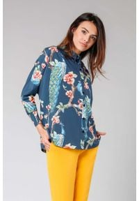 Nommo - Granatowa Koszula z Długim Nietoperzowym Rękawem. Kolor: niebieski. Materiał: wiskoza, poliester. Długość: długie