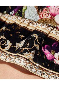 Camilla - CAMILLA - Spódnica mini Mirror. Kolor: czarny. Materiał: jedwab. Wzór: nadruk, aplikacja, kwiaty. Sezon: lato. Styl: boho