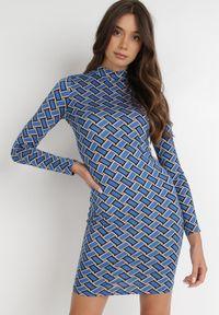 Born2be - Niebieska Sukienka Hypsone. Kolor: niebieski. Materiał: dzianina. Długość rękawa: długi rękaw. Wzór: geometria. Długość: mini