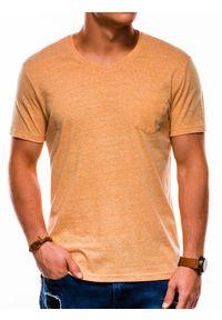 Ombre Clothing - T-shirt męski bez nadruku S1045 - żółty - XXL. Kolor: żółty. Materiał: wiskoza, bawełna, poliester