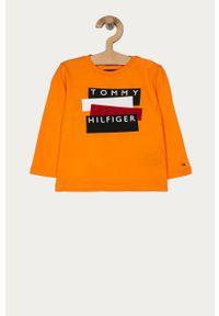 Pomarańczowa koszulka z długim rękawem TOMMY HILFIGER z nadrukiem, casualowa, na co dzień