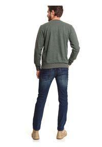 TOP SECRET - Bluza z nadrukiem. Okazja: na co dzień. Kolor: brązowy. Materiał: materiał. Długość: długie. Wzór: nadruk. Sezon: wiosna. Styl: casual, klasyczny