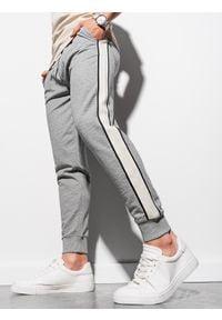 Ombre Clothing - Spodnie męskie dresowe joggery P951 - szare melanż - XXL. Kolor: szary. Materiał: dresówka. Wzór: melanż