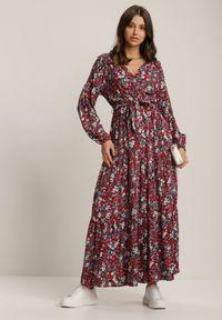 Renee - Czarna Sukienka Hasiphelia. Kolor: czarny. Materiał: materiał. Długość rękawa: długi rękaw. Typ sukienki: kopertowe. Długość: maxi