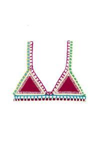 KIINI - Top od bikini Fuchsia. Kolor: fioletowy, różowy, wielokolorowy. Materiał: dzianina, elastan, materiał, bawełna, poliester. Wzór: aplikacja, kolorowy