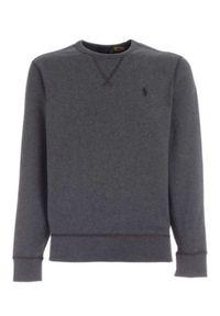 Ralph Lauren - RALPH LAUREN - Grafitowa bluza z haftowanym logo. Typ kołnierza: polo. Kolor: szary. Materiał: bawełna. Długość rękawa: długi rękaw. Długość: długie. Wzór: haft. Styl: klasyczny