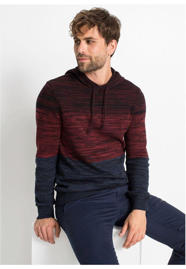 Czerwony sweter bonprix z kapturem, melanż