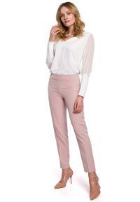 MOE - Spodnie Cygaretki w Kant - Różowe. Kolor: różowy. Materiał: poliester, elastan