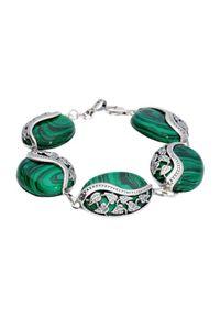 Polcarat Design - Srebrna bransoletka z malachitem L 1716 malachit. Materiał: srebrne. Kolor: srebrny. Kamień szlachetny: malachit