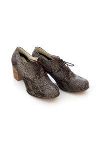 Zapato - sznurowane półbuty na 6 cm słupku - skóra naturalna - model 251 - kolor wąż. Materiał: skóra. Obcas: na słupku