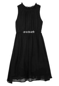 Czarna sukienka bonprix z aplikacjami, bez rękawów