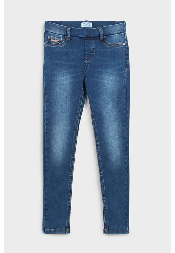 Niebieskie jeansy Mayoral w kolorowe wzory