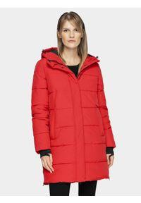 Czerwona kurtka zimowa 4f na co dzień, casualowa, długa
