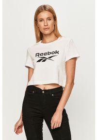 Biała bluzka Reebok Classic z okrągłym kołnierzem, z nadrukiem, casualowa