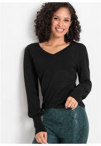 Sweter z balonowymi rękawami bonprix czarny. Kolor: czarny. Materiał: wiskoza, dzianina, materiał, poliamid. Wzór: ze splotem, gładki. Sezon: wiosna