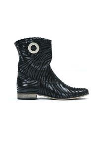 Czarne botki Zapato wąskie, z cholewką, bez zapięcia