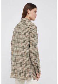 Mos Mosh - Koszula z domieszką wełny. Kolor: beżowy. Materiał: wełna