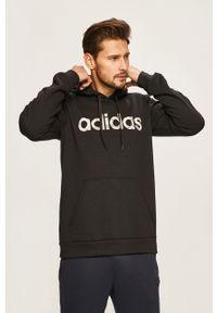 Czarna bluza nierozpinana Adidas casualowa, z kapturem, z nadrukiem