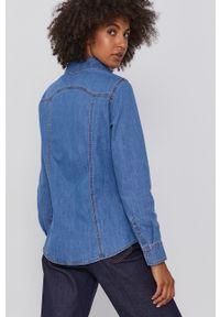 United Colors of Benetton - Koszula jeansowa. Okazja: na co dzień. Kolor: niebieski. Materiał: jeans. Długość rękawa: długi rękaw. Długość: długie. Wzór: gładki. Styl: casual