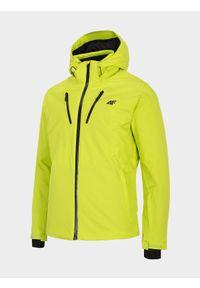 Zielona kurtka narciarska 4f z kapturem, na zimę